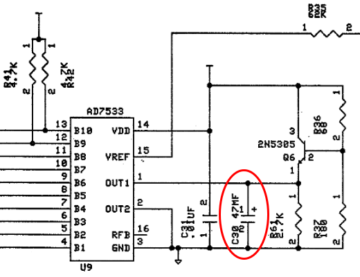 Location of capacitor C30, which as the video mentioned must be removed or it will blow up the sound chip nearby.