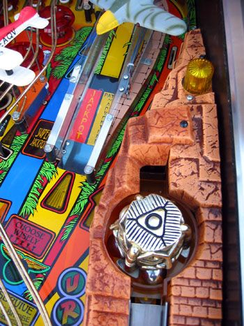 Top view of the rotating Inca head in the right ramp. Image courtesy of The Internet Pinball Database.