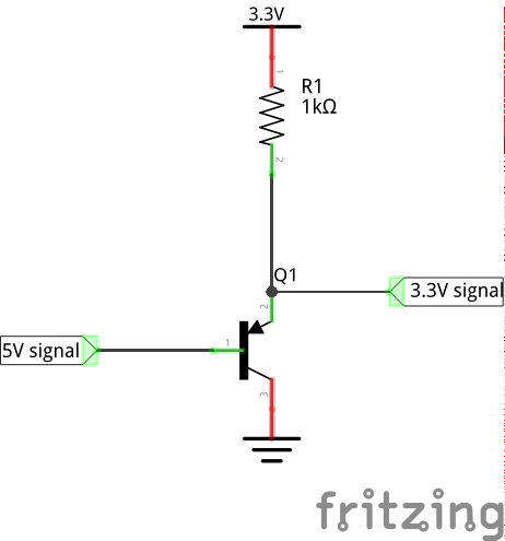 5V to 3.3V level shifting circuit, which handles active-low signals.